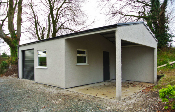 Rendered Garage with Carport