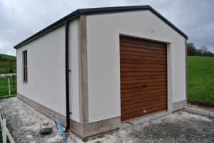 cream and oak rendered garage