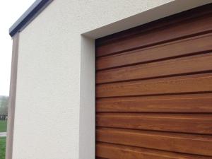 rendered garage oak door