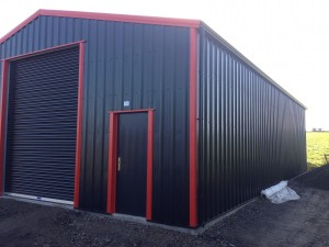 black and red steel building